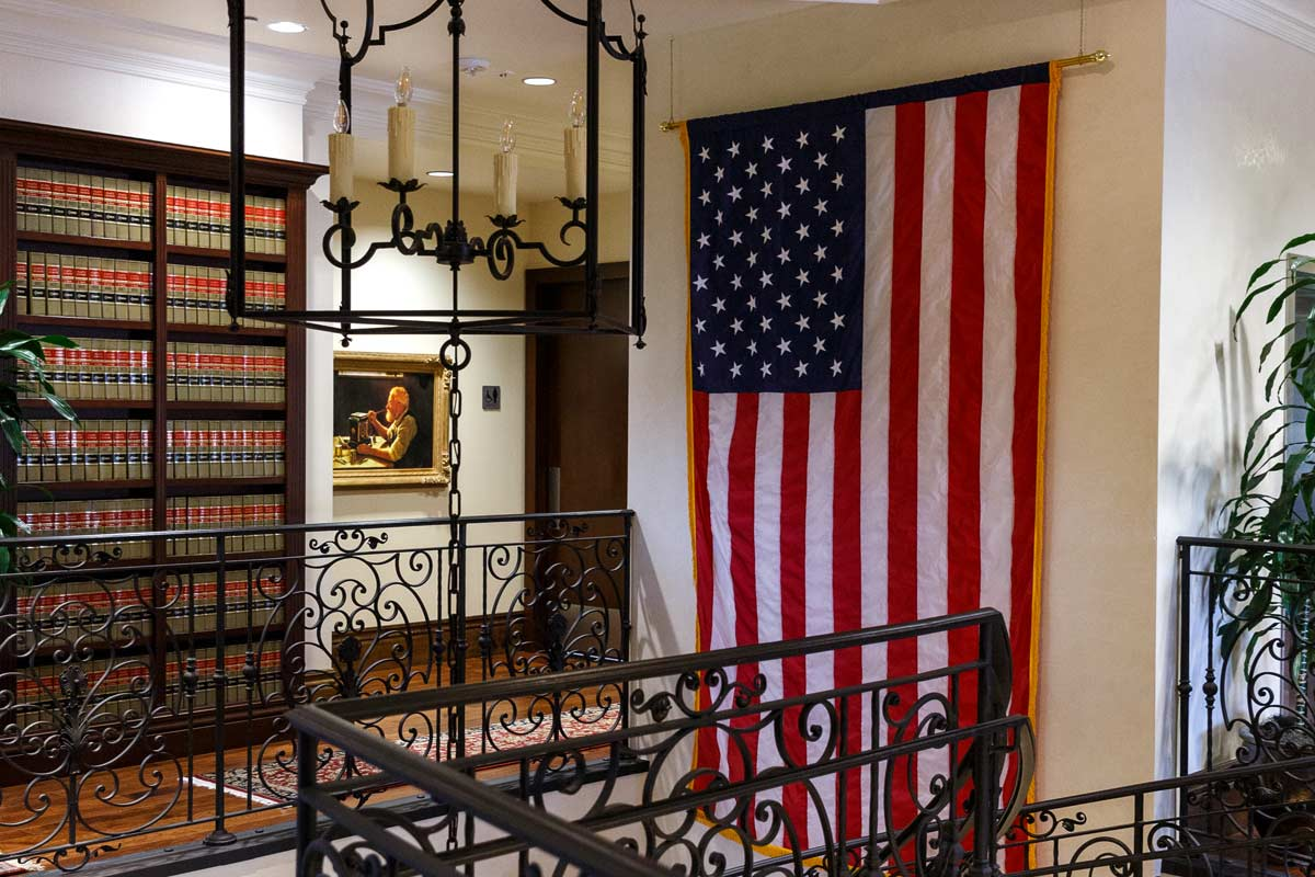 USA Flag at the top of the Beus Gilbert McGroder staircase